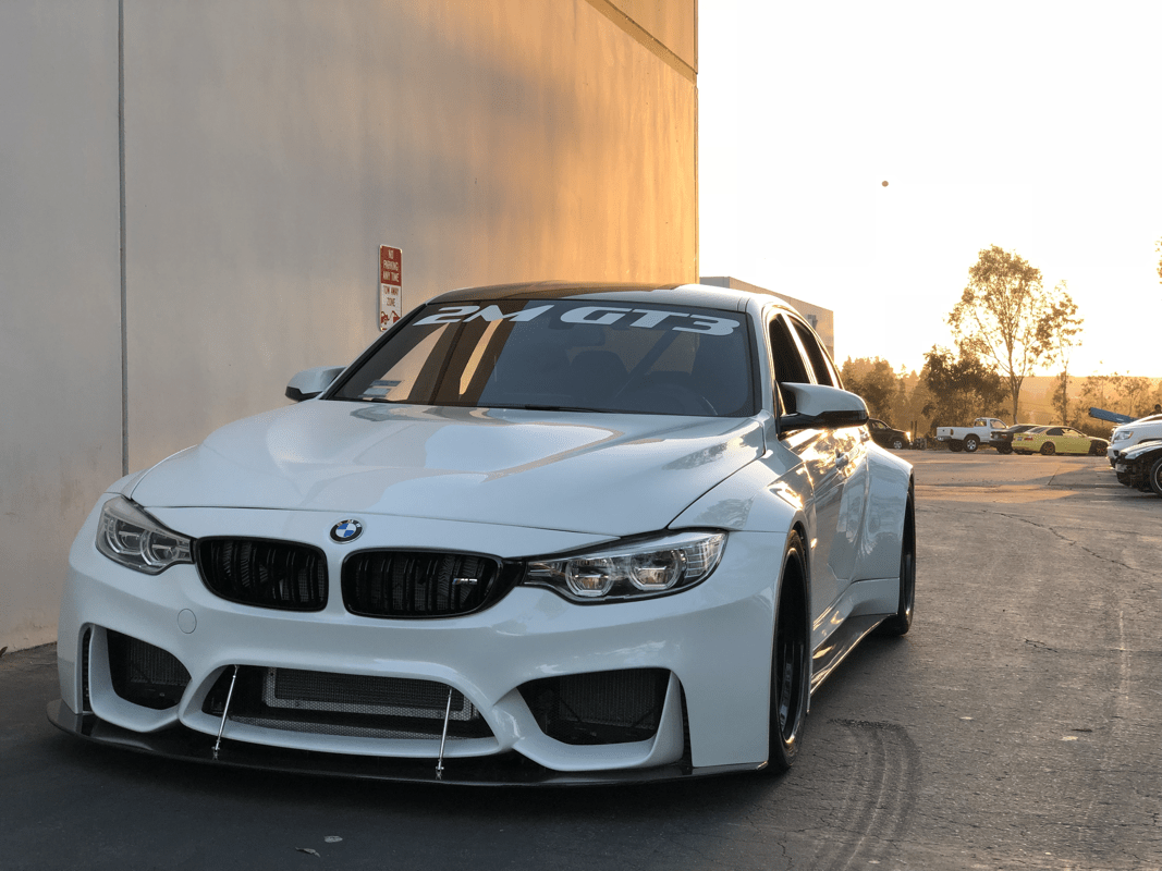 The 2M Autowerks GT3 widebody kit is a 13-piece kit with complete replacement pieces, aside for the rear door and quarter panel which require molding.