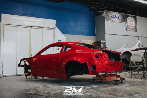 Ferrari 458 engine swapped into a Toyota Scion FRS widebody at 2M Autowerks in San Diego, California.