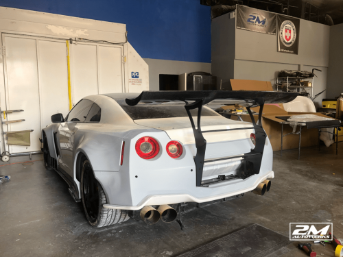Custom molded Liberty Walk V.2 Nissan GT-R built for influencer Tanner Fox at 2M Autowerks in San Diego, California.